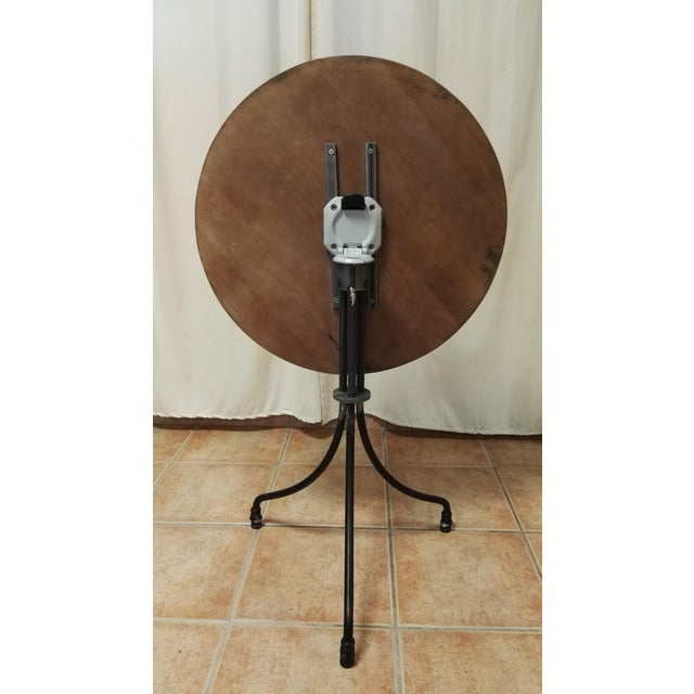New Round Bistro Table With Wood Top & Iron Base Galvanized metal rod base with epoxy powder coating. The listing includes...