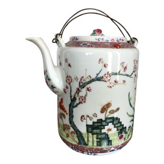 Antique Qing Porcelain Teapot With Wire Handles For Sale