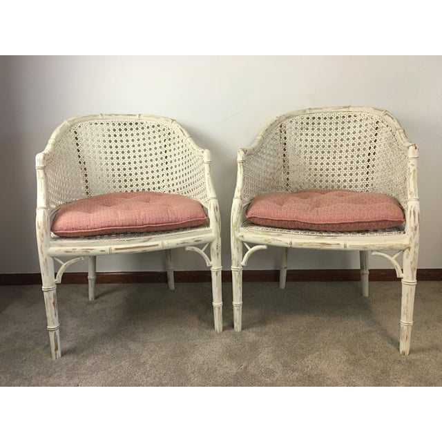 Vintage Faux Bamboo Rattan Chairs - A Pair - Image 2 of 8