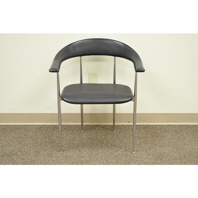 Item: Unique Vintage Chrome & Molded Vinyl Italian Armchair by Fasem Details: Polished chrome frame, Molded vinyl seat and...