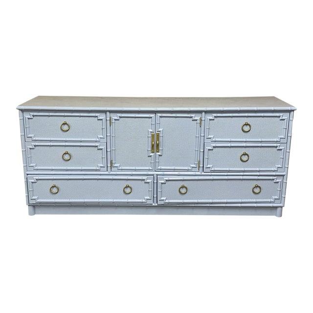 Vintage Drexel Lexington Faux Bamboo Blue Gray Lacquered Credenza For Sale