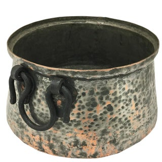 Exceptional Hand Hammered Vintage Copper Cauldron For Sale