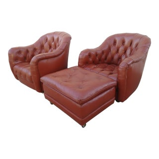 Vintage Mid Century Italian Tufted Leather Chairs & Ottoman- 3 Pieces For Sale