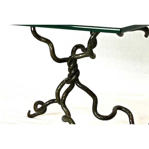 Abstract Molded Iron & Glass Table - Image 5 of 7
