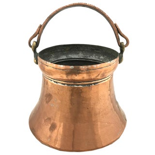 Hand-Hammered Vintage Copper Pail With Bronze Handle For Sale