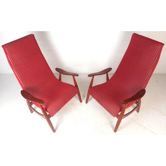 1970s Mid-Century Modern High Back Walnut Lounge Chairs - A Pair For Sale - Image 5 of 9