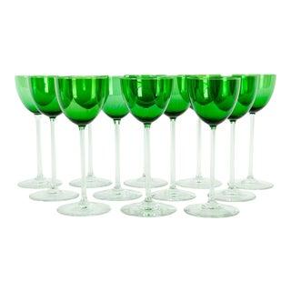 Vintage Baccarat Green Crystal Goblets & Ice Bucket Glassware Set - Set of 12 For Sale
