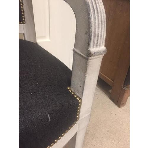 Painted Wood Chair With Black Linen Fabric For Sale In Nashville - Image 6 of 9