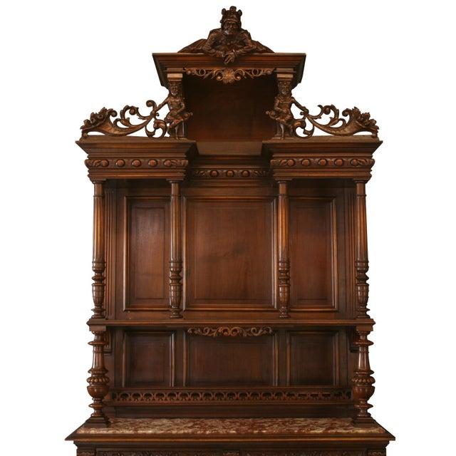 Offered is a superb French buffet circa 1890. This stunning piece is made from Walnut with beautiful Renaissance details...