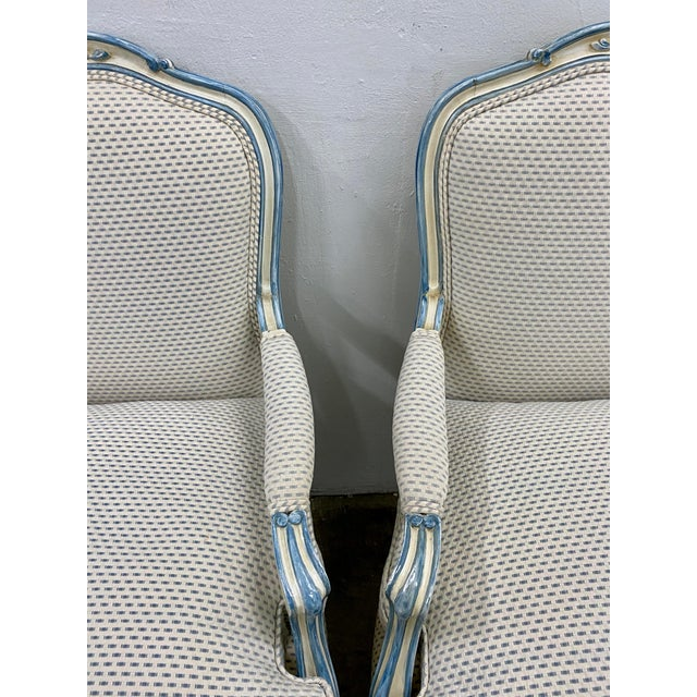 Pair of French Style Carved & Upholstered Arm Chairs C.1940s For Sale - Image 4 of 10