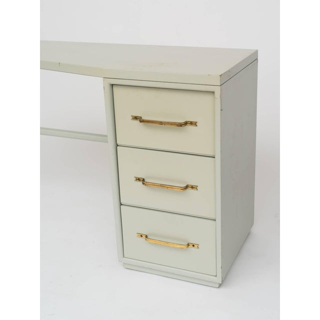 Metal Tommi Parzinger Style Celadon Lacquered Desk For Sale - Image 7 of 9
