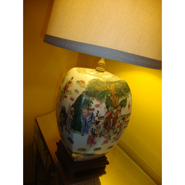 Chinese Export Porcelain Painted Ginger Jar Table Lamps- A Pair - Image 8 of 10