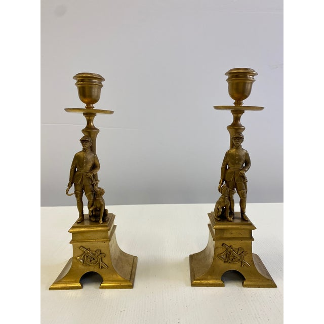 French Gilt Bronze Equestrian Horseman & Hound Dog Candlesticks -A Pair For Sale - Image 9 of 9