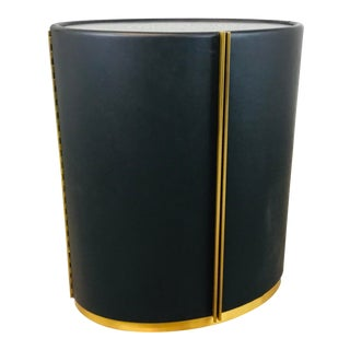 Global Views Modern Black Leather Ellipse Side Table For Sale