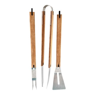 Artisinal High Quality Vintage 3-Pce Bbq Grill Tool Set- Dallaire For Sale