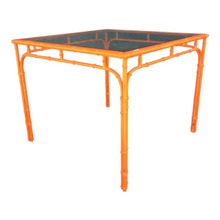 1960s Hollywood Regency Orange Faux Bamboo Cast Iron Garden Table For Sale