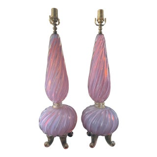 Barovier & Toso 20th Century Murano Pink and Lavender Opalescent Art Glass Lamps - a Pair For Sale