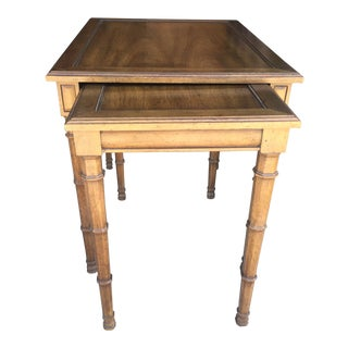 Walnut Henredon Nesting Tables a Pair Faux Bamboo Legs