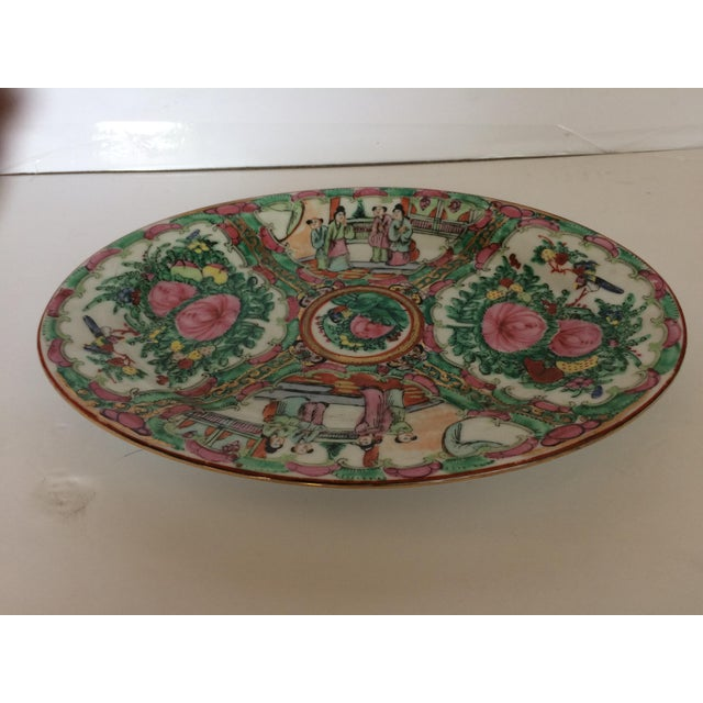 """Beautiful Rose Medallion oval serving dish. Some """"flea bites"""", but great condition for the age."""