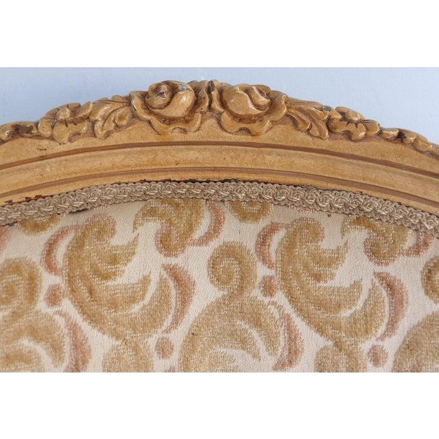 Tan Antique Louis XV Style Provincial Velvet Fauteuil Armchairs- a Pair For Sale - Image 8 of 13
