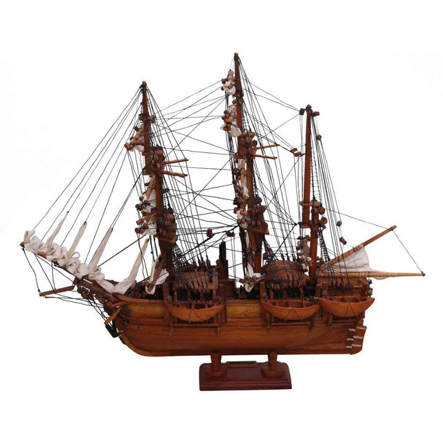 Wood Traditional Hand Carved Ship Model For Sale - Image 7 of 10