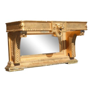Decorative Antique French Provincial Wall Mantle Gold Shelf Bookcase W Mirror As-Is For Sale