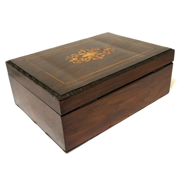 Late 19th Century Antique Rosewood Sewing Box For Sale In Boston - Image 6 of 10