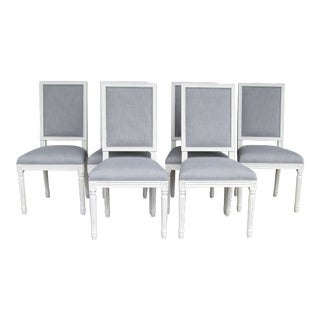 Modern Restoration Hardware French Square Back Fabric Dining Chairs- Set of 6 For Sale