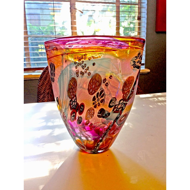 Hand-Blown Multicolor Glass Vase - Image 2 of 4