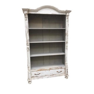 European Antique White Painted Bookcase With Drawer