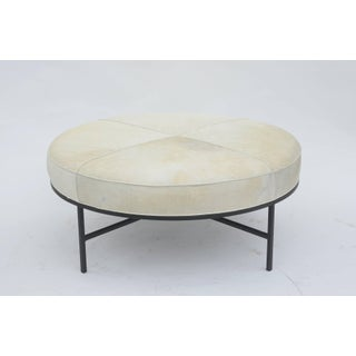 Design Frères White Hide and Blackened Steel 'Tambour' Ottoman Preview
