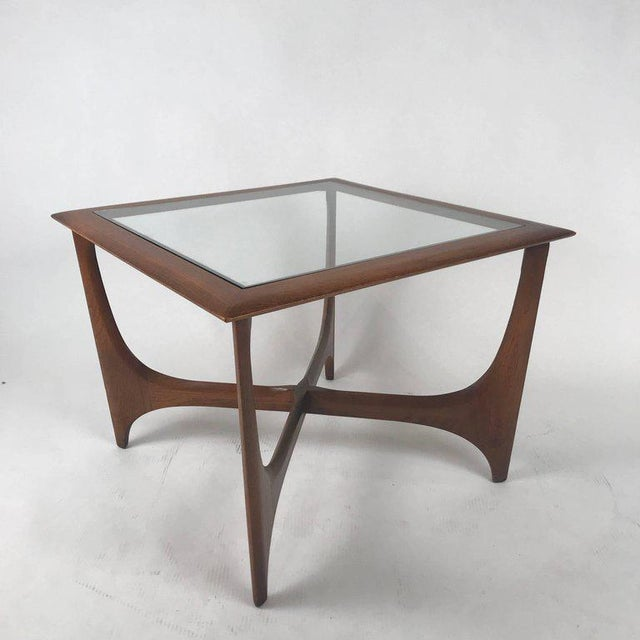 Sculptural Midcentury Modern Walnut and Glass End or Side Table by Lane, 1967 For Sale - Image 4 of 7