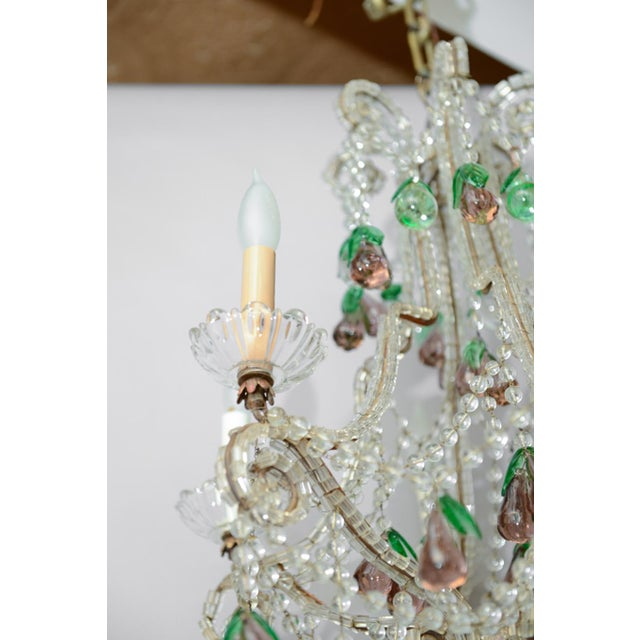 Italian Maria Theresa Six-Light Chandelier Adorned with Amethyst Glass Pears For Sale - Image 4 of 8