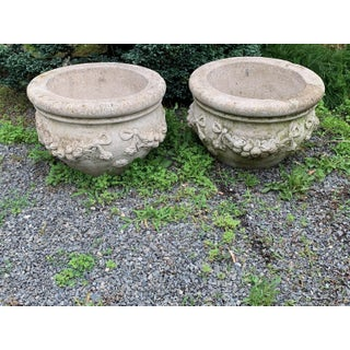 Large Stately Pair of Cast Stone Cement Flower Pot Planters Preview
