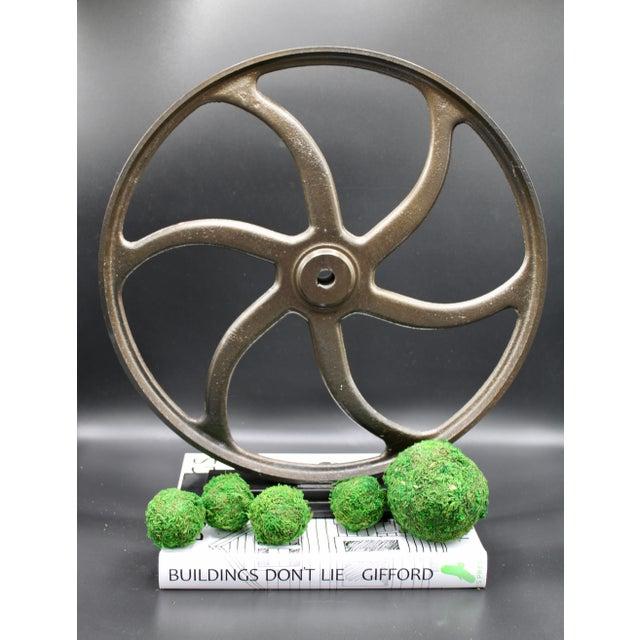 Metal Vintage Lathe Wheel on Custom Mount For Sale - Image 7 of 10