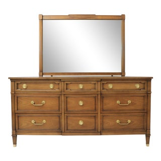 1960's Drexel Triune 9 Drawer Dresser With Mirror For Sale
