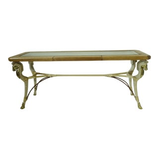 Contemporary Classical Glass and Leather Console Table For Sale