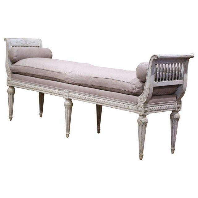 19th Century French Directoire Carved Painted Upholstered Banquette With Back For Sale - Image 9 of 9