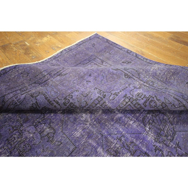 """Purple Overdyed Wool Rug - 9' 7"""" x 12' 9"""" - Image 9 of 10"""