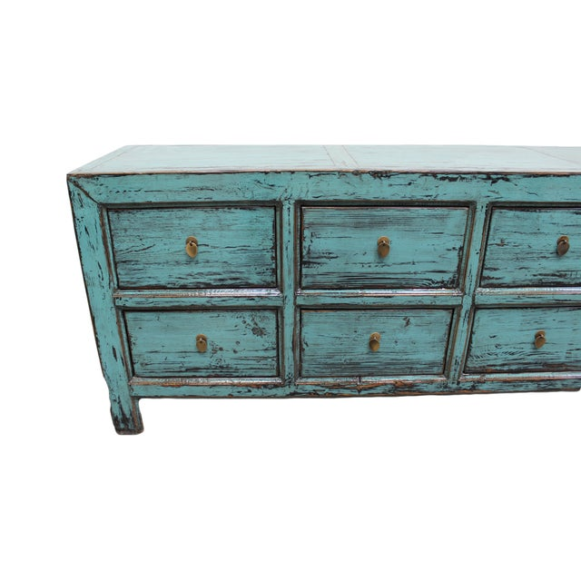 Distressed Blue 8-Drawer Cabinet - Image 3 of 4
