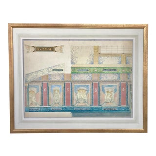 Vintage Original Watercolor Interior Study Neo Classical Design by Daniel MacMasters For Sale