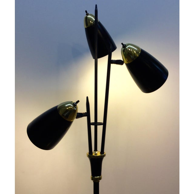 Mid-Century Black & Brass Adjustable Floor Lamp - Image 3 of 5