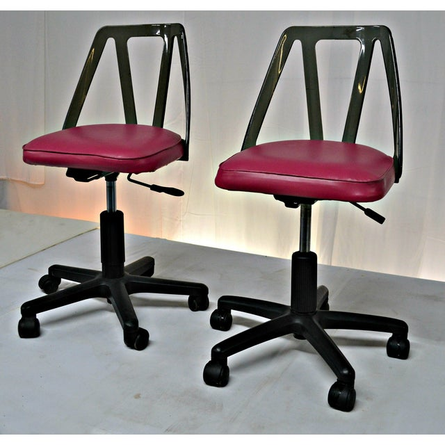 Vintage Smoked Lucite Office Chairs - Pair - Image 3 of 9
