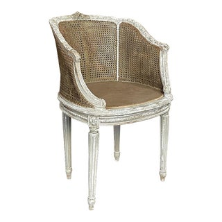 Antique French Louis XVI Painted Armchair With Caned Seatback For Sale