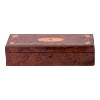 Antique Inlaid Wooden Box For Sale