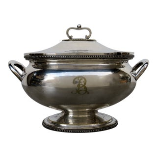 "Antique Early 20th Century ""B"" Monogram Silver Plate Tureen For Sale"