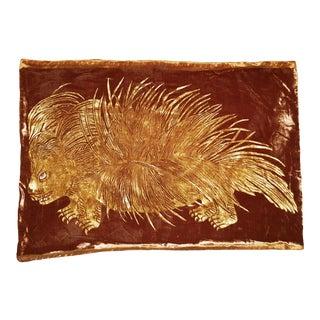 Venetian Velvet Pillow with Hand Painted Porcupine Motif For Sale