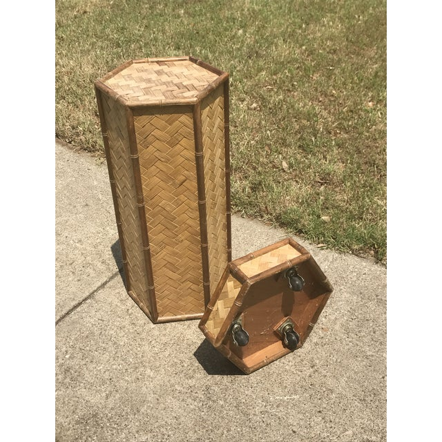 1960s Rolling Woven Bamboo Pedestal Plant Stand For Sale - Image 5 of 10