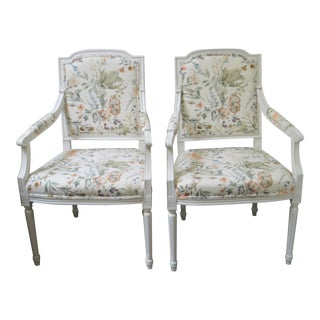 Pair of Louis XVI White Painted Armchairs Upholstered in Organic Botanical Print Cotton R For Sale