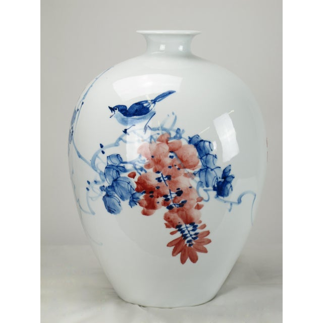 Chinese Red Flower and Blue Vine Detailed White Porcelain Vase For Sale - Image 4 of 6